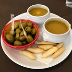 Complimentary broth & olives