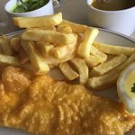 Haddock, chips, peas, curry sauce, bliss