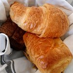 croissants, muffin and bread pastry basket