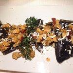 Ravioli di Cernia con pescato del giorno, Pomodori e Ricotta Mustia