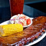 Full Rack St. Louis Cut Rib: Corn on the Cob and Red, White, and Bleu Slaw