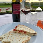 Piadina Romagnola and local wine as the sunsets