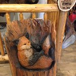 lovely carved fox in the seating room