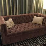 """CLOTH COVERED WOODEN """"COUCH"""""""