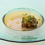 Potato and Leek soup. Baked Courgette and Mussel with breadcrumbs./じゃが芋・ズッキーニ・ムール貝・ポロ葱