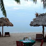 Beach view from ocean front room at Belizean Dreams Hotel