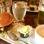 Country burger and apple cheddar soup