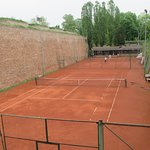 Tennis courts in the moat