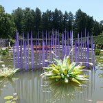 Chihuly sculptues in pond