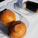 Chocolate custard filled malasadas along with a Spam musubi
