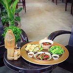 Vietnamese local foods in copper tray