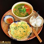 Sweet sour fish soup and fried eggs