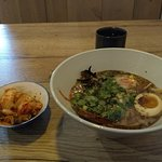 Black Garlic Tonkotsu with fresh ramen noodles and a side of home made Kimchee.