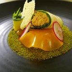 cannelloni de tourteau,voile de mandarine