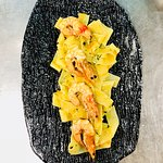 try our papardeles pasta  with shrimps