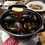 Mussels to start - piping hot and delicious