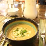 Soup of the day (creamy broccoli soup) and horchata