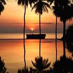Stunning sunset on our infinity pool, mornings at Karpaha Sands Kalkudah