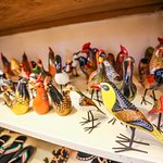 Selection of hand carved wooden birds