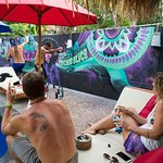 Trance music and graffiti, for Woodstock's pool-side-wall
