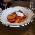 Glazed apricots.
