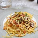 Spaghetti with fresh anchovy and oregano