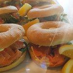 Salmon & cream cheese bagels
