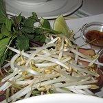 bean sprouts and fresh herbs for Bon Bu Hue