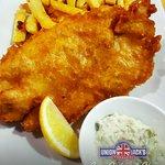 Our Best Seller! Ling Cod, Chips & HomeMade Tartar with slice of lemon.