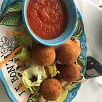Arancini (fried risotto balls) and fresh marinara