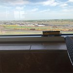 Here is one of my TT Scale locomotives on the windowsill of the observation deck of the tower at