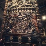 Partial view of stern—magnificent carvings!