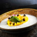 INDIAN MANGO, LIME CAVIAR, basil sorbet, coconut-lemongrass sauce
