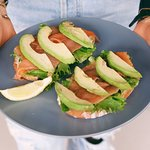 Smoked Salmon Trout & avocado, leafy greens, citrus labneh, on sourdough
