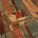 entree di scquacquerone, capperi, pomodoro confit, olio basilico