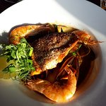 Sea Trout with Mussels and Crevettes.