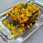 Planner tikka on a Sweet corn chat