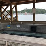 View of the foot bath and the harbor looking toward the Hotel Urashima