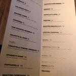 Dinner menu at Pasta Pop-Up in San Francisco.