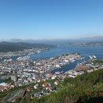 View of Bergen, Bryggen & Puddefjorden seen from the top of the Floibanen funicular railway.