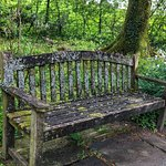 Well-worn Welsh bench in Aberglasney