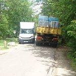 Two industrial lorries blocking the road