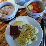 Scrambled eggs with favorite fruit items