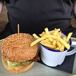 Hunters chicken burger and chips
