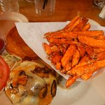 Mushroom burger with a side order of addictive sweet potato fries