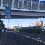 手前の陸橋が旧、奥に新型の改札口
