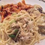 The three pastas served, mushroom ravioli, linguine w/fish sauce, papardelle w/ tom. Basil