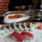 2 set lunch + Salmon Sashimi 1