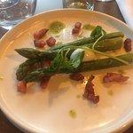 Asparagus with crispy pancetta and quail egg starter x