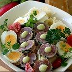 Nicoise Salad with tuna sesami and wasabi souce